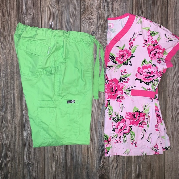 KOI Lime Green & Pink Scrub Set